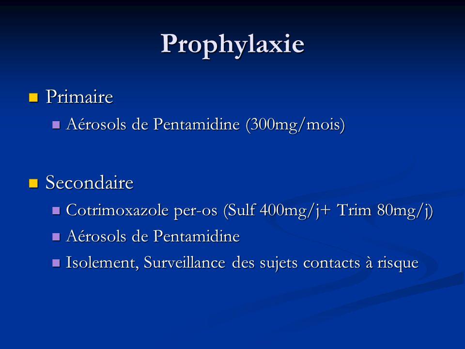 Prophylaxie Primaire Primaire Aérosols de Pentamidine (300mg/mois) Aérosols de Pentamidine (300mg/mois) Secondaire Secondaire Cotrimoxazole per-os (Su