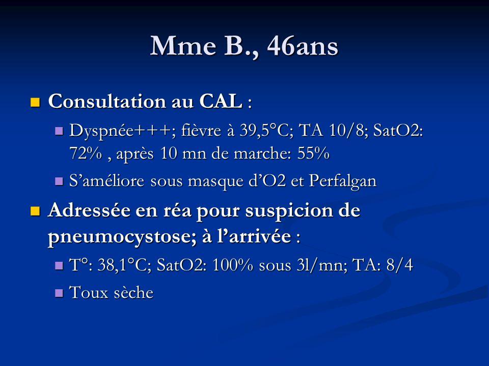 Mme B., 46ans Consultation au CAL : Consultation au CAL : Dyspnée+++; fièvre à 39,5°C; TA 10/8; SatO2: 72%, après 10 mn de marche: 55% Dyspnée+++; fiè