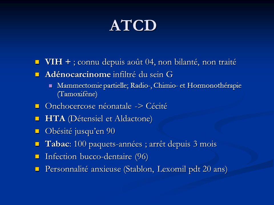 ATCD VIH + ; connu depuis août 04, non bilanté, non traité VIH + ; connu depuis août 04, non bilanté, non traité Adénocarcinome infiltré du sein G Adé