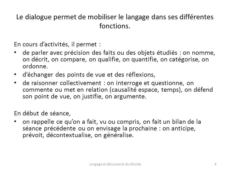 Le dialogue permet de mobiliser le langage dans ses différentes fonctions.