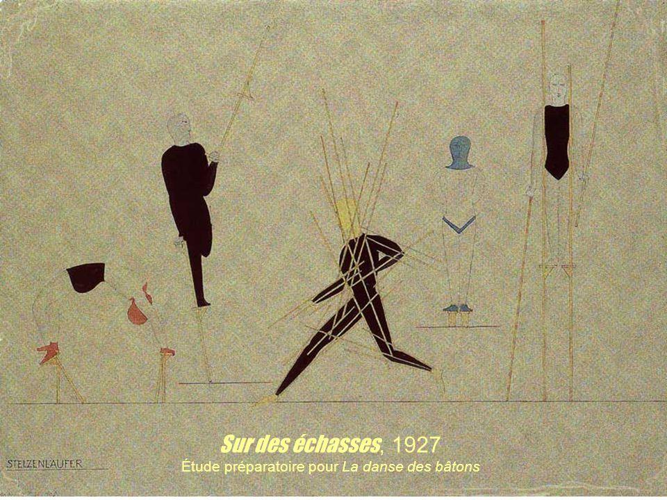Sur des échasses, 1927 Étude préparatoire pour La danse des bâtons
