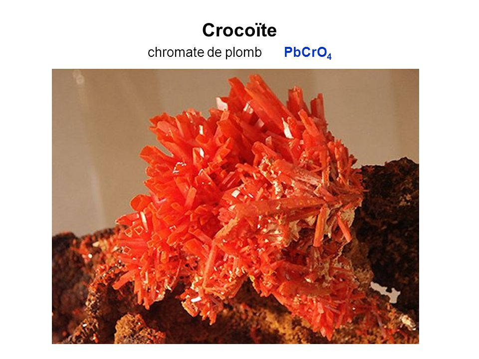 Crocoïte chromate de plomb PbCrO 4