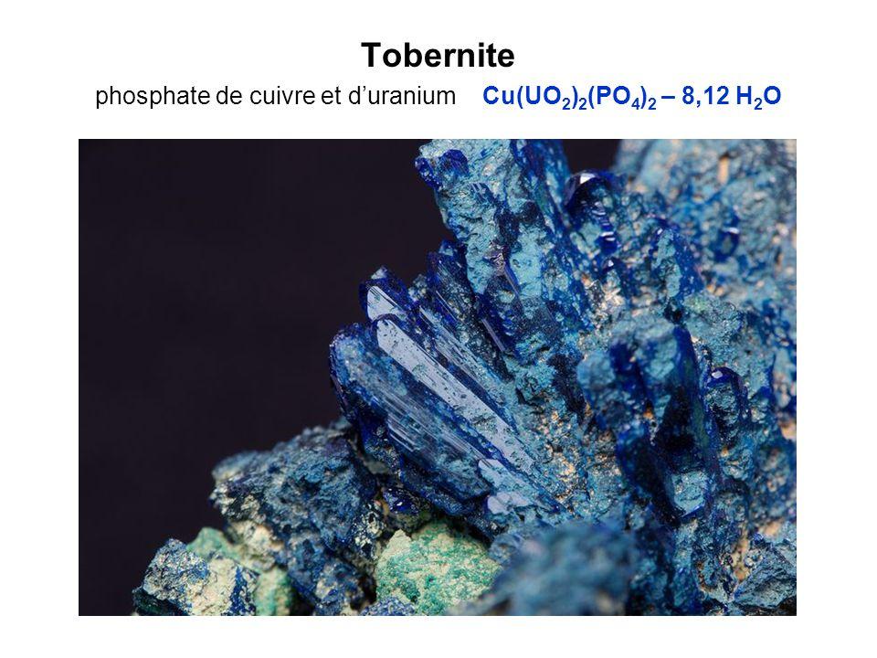 Tobernite phosphate de cuivre et duranium Cu(UO 2 ) 2 (PO 4 ) 2 – 8,12 H 2 O