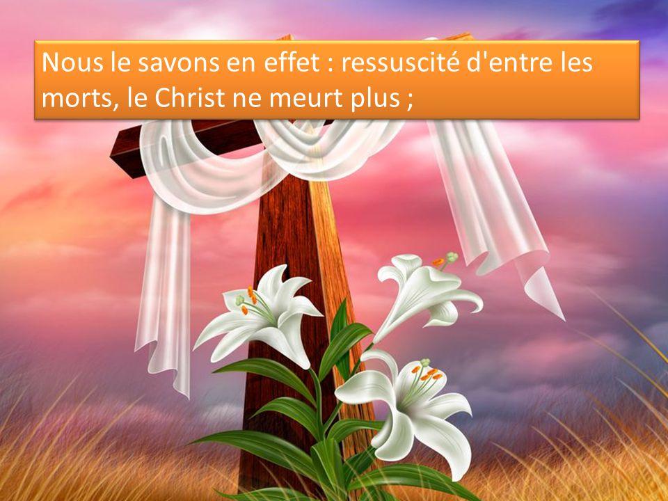 Nous le savons en effet : ressuscité d'entre les morts, le Christ ne meurt plus ;