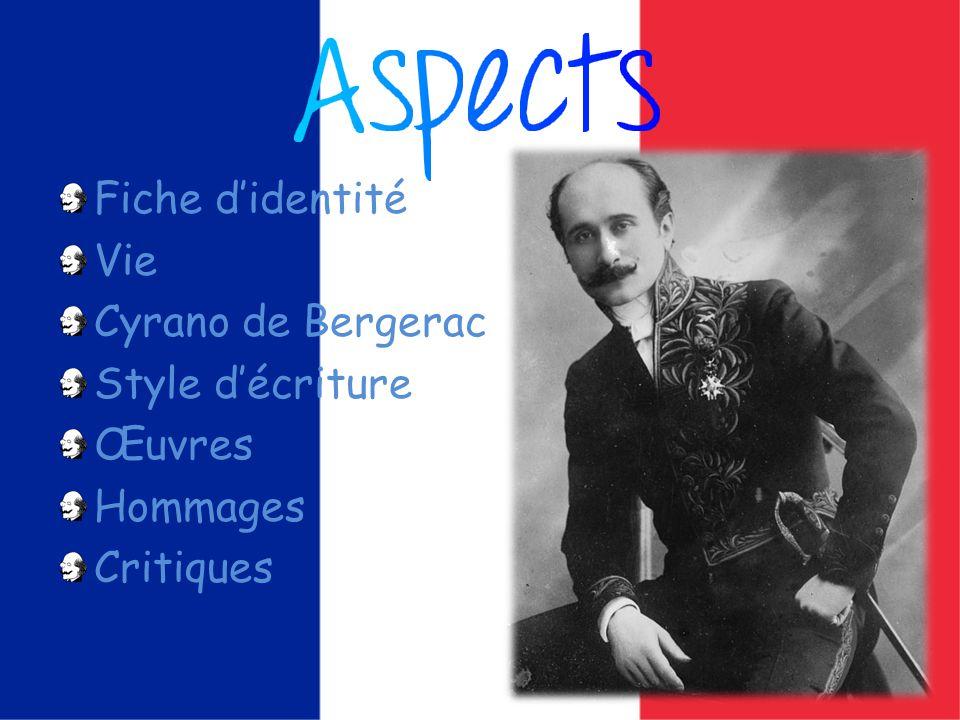 Fiche didentité Vie Cyrano de Bergerac Style décriture Œuvres Hommages Critiques