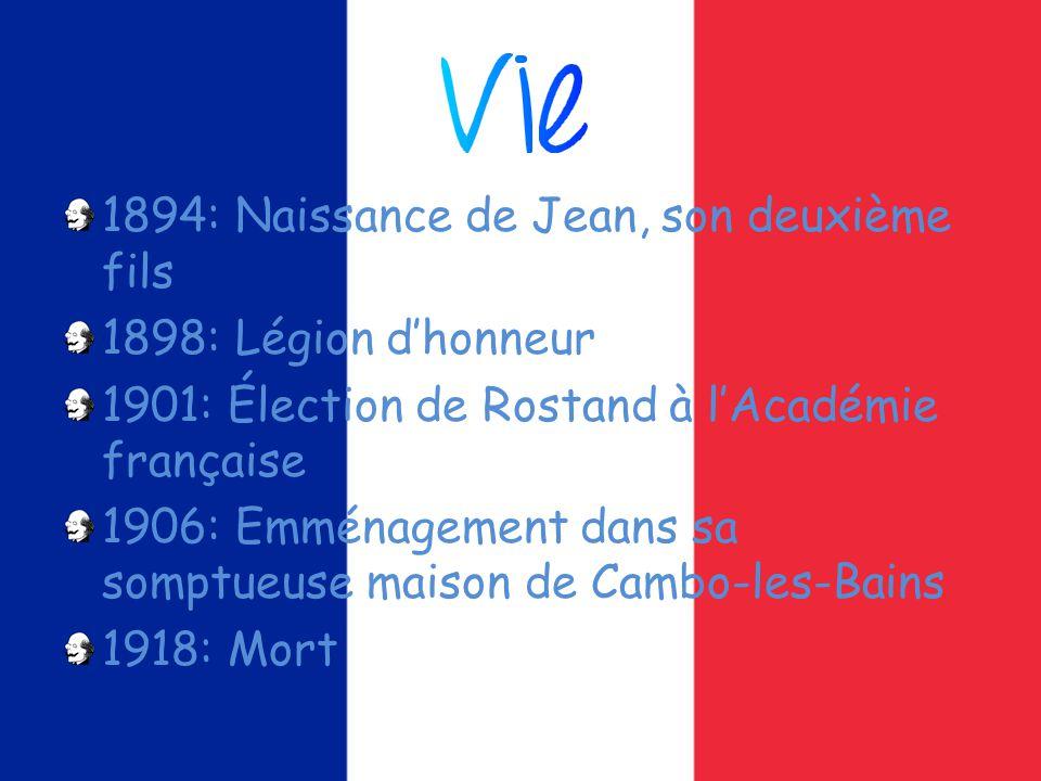 1894: Naissance de Jean, son deuxième fils 1898: Légion dhonneur 1901: Élection de Rostand à lAcadémie française 1906: Emménagement dans sa somptueuse maison de Cambo-les-Bains 1918: Mort