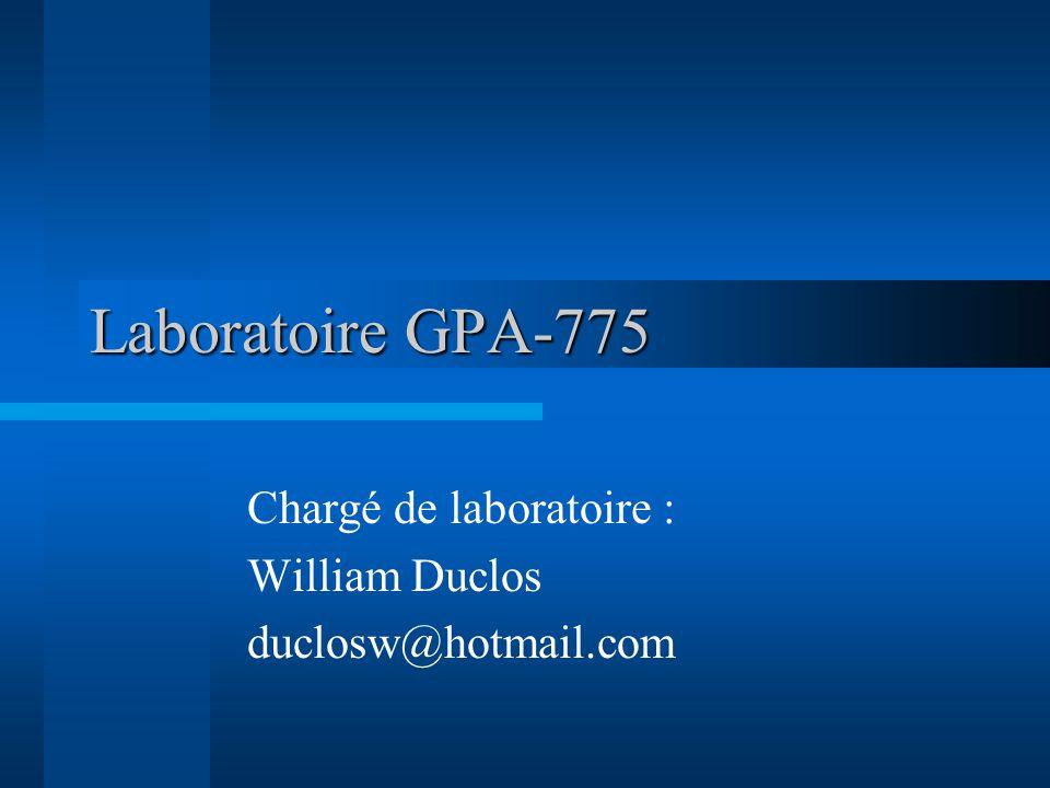Laboratoire GPA-775 Chargé de laboratoire : William Duclos duclosw@hotmail.com