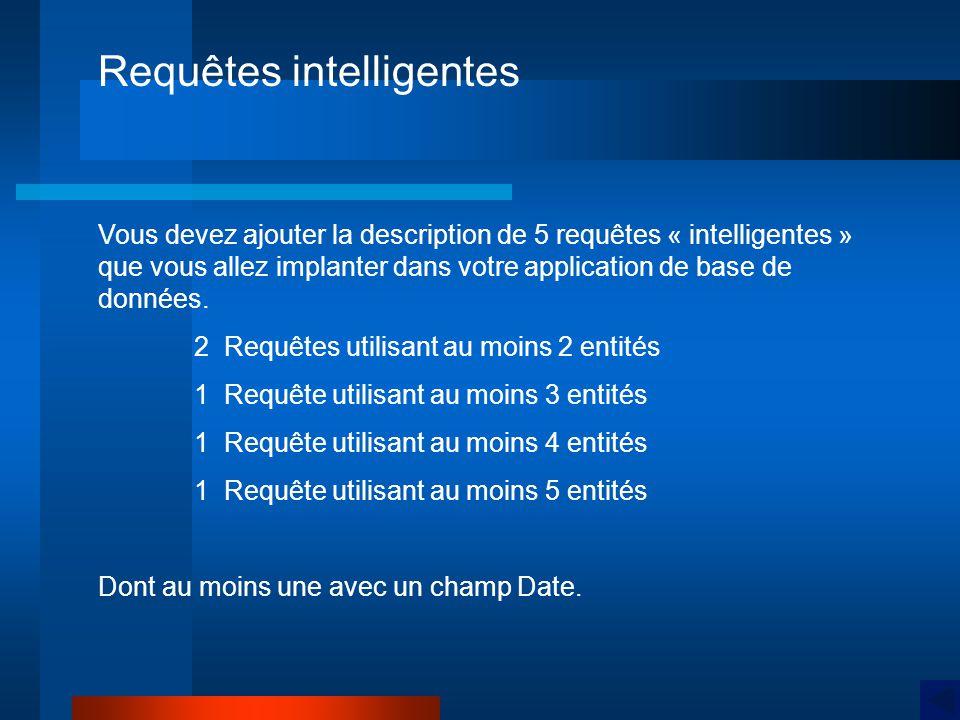 Requêtes intelligentes Vous devez ajouter la description de 5 requêtes « intelligentes » que vous allez implanter dans votre application de base de données.