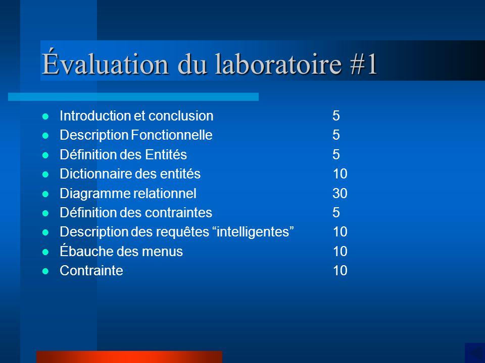 Évaluation du laboratoire #1 Introduction et conclusion5 Description Fonctionnelle 5 Définition des Entités 5 Dictionnaire des entités10 Diagramme rel