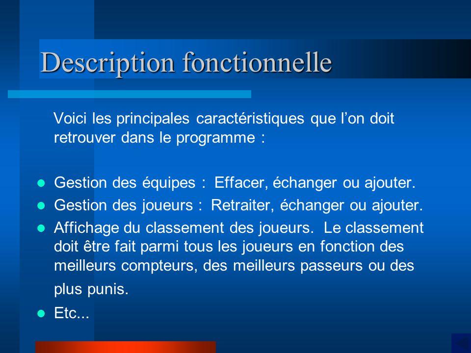 Description fonctionnelle Voici les principales caractéristiques que lon doit retrouver dans le programme : Gestion des équipes : Effacer, échanger ou ajouter.