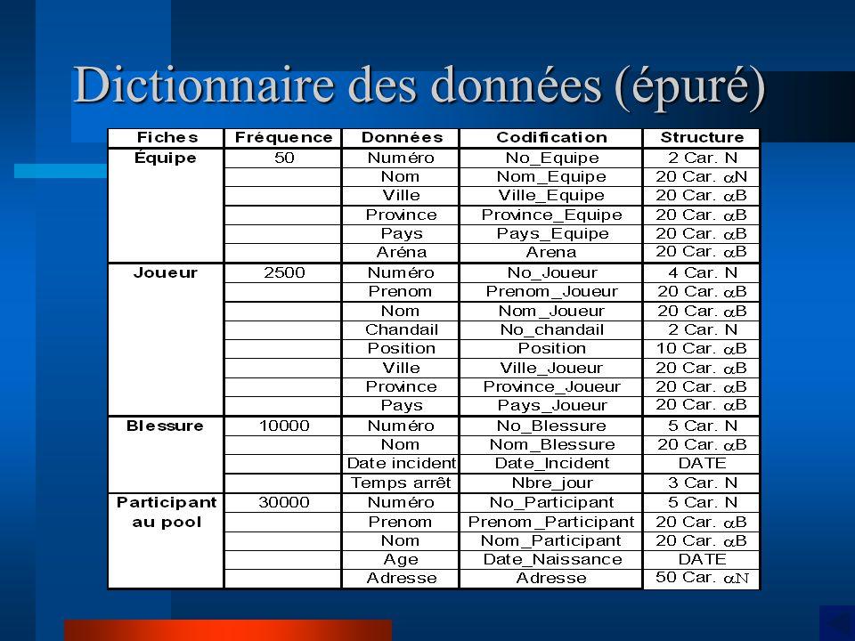 Dictionnaire des données (épuré)