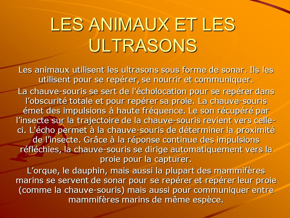 LES ANIMAUX ET LES ULTRASONS Les animaux utilisent les ultrasons sous forme de sonar.