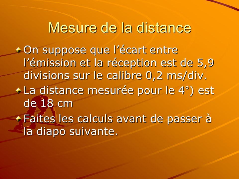 Mesure de la distance On suppose que lécart entre lémission et la réception est de 5,9 divisions sur le calibre 0,2 ms/div.