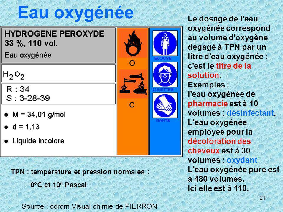 21 Eau oxygénée Source : cdrom Visual chimie de PIERRON Le dosage de l'eau oxygénée correspond au volume d'oxygène dégagé à TPN par un litre d'eau oxy