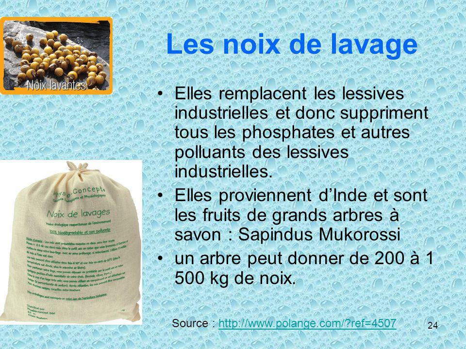 24 Les noix de lavage Elles remplacent les lessives industrielles et donc suppriment tous les phosphates et autres polluants des lessives industrielle