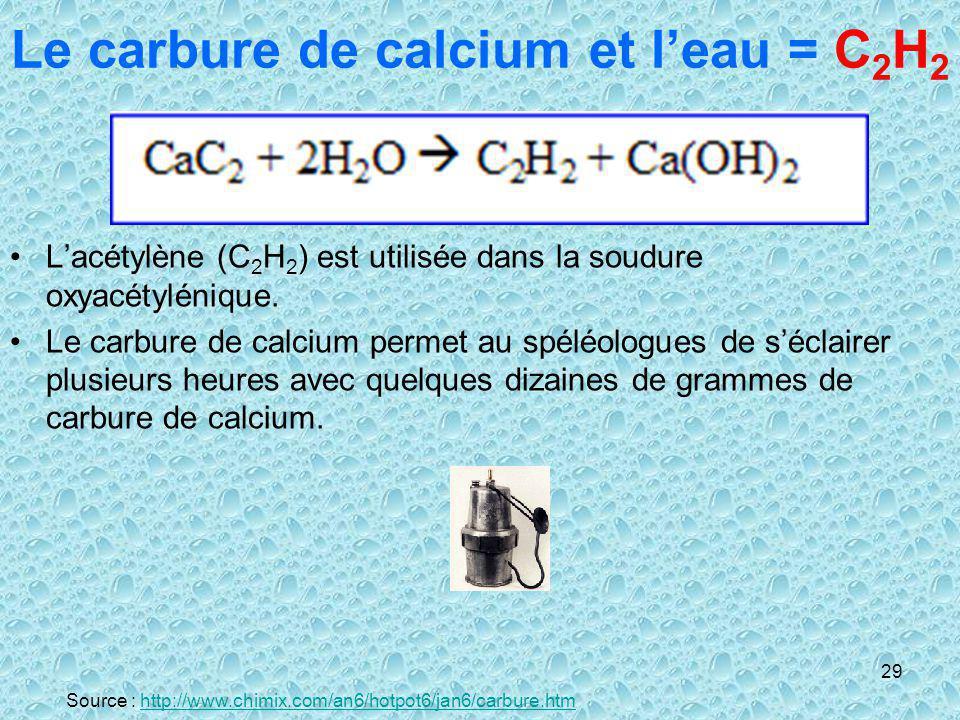 29 Le carbure de calcium et leau = C 2 H 2 Lacétylène (C 2 H 2 ) est utilisée dans la soudure oxyacétylénique. Le carbure de calcium permet au spéléol