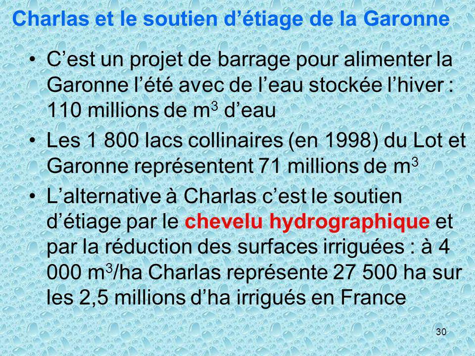 30 Charlas et le soutien détiage de la Garonne Cest un projet de barrage pour alimenter la Garonne lété avec de leau stockée lhiver : 110 millions de