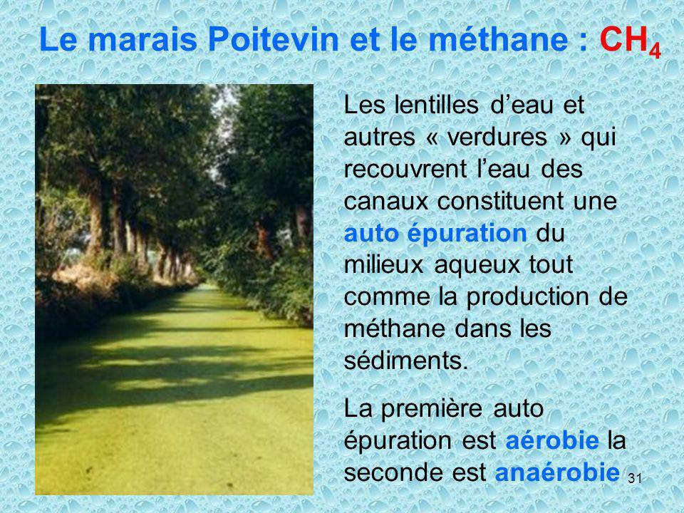 31 Le marais Poitevin et le méthane : CH 4 Les lentilles deau et autres « verdures » qui recouvrent leau des canaux constituent une auto épuration du