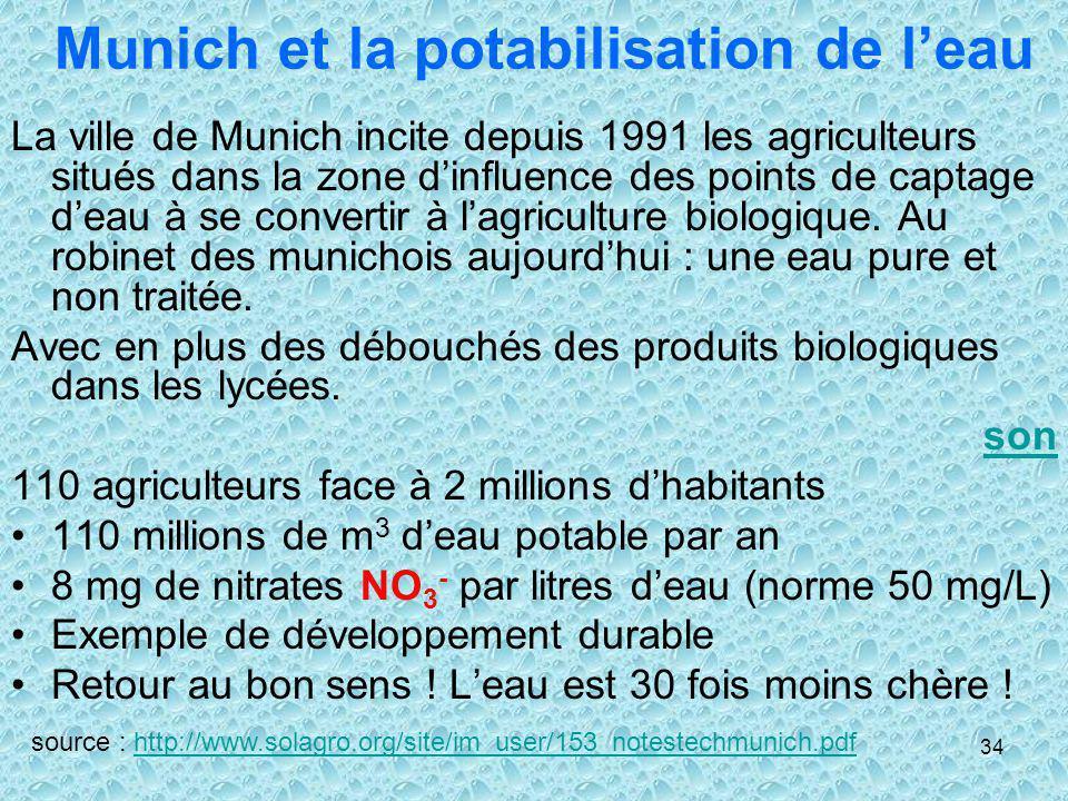 34 Munich et la potabilisation de leau La ville de Munich incite depuis 1991 les agriculteurs situés dans la zone dinfluence des points de captage dea