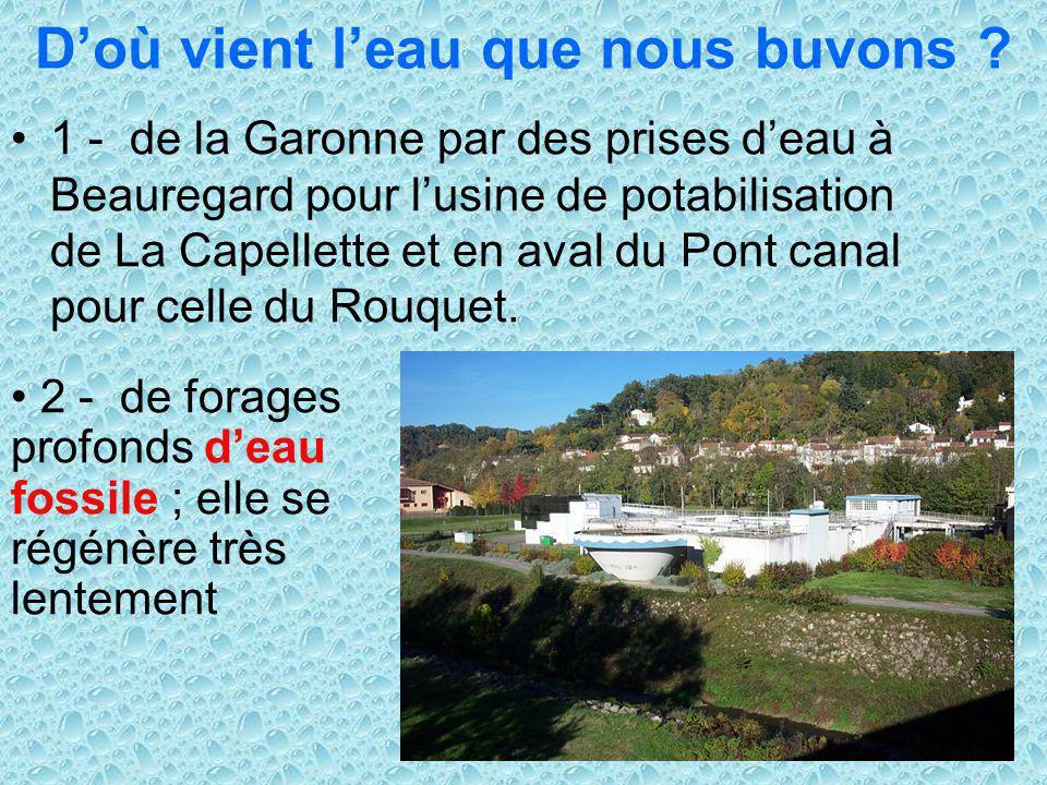 8 Doù vient leau que nous buvons ? 1 - de la Garonne par des prises deau à Beauregard pour lusine de potabilisation de La Capellette et en aval du Pon