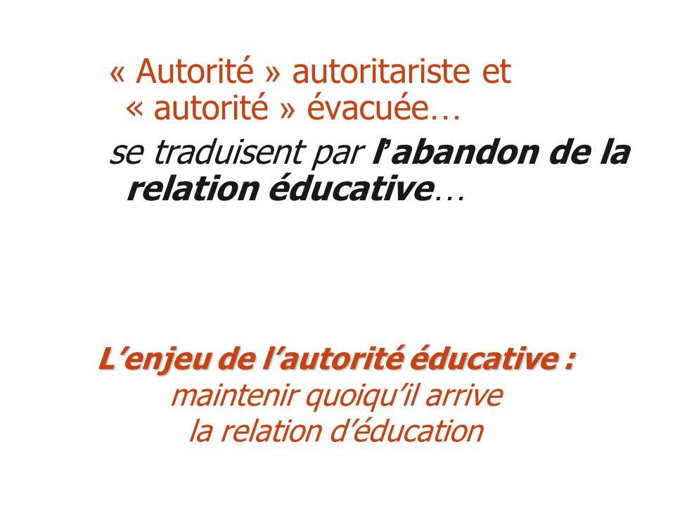 « Autorité » autoritariste et « autorité » évacuée … se traduisent par l abandon de la relation éducative … Lenjeu de lautorité éducative : Lenjeu de