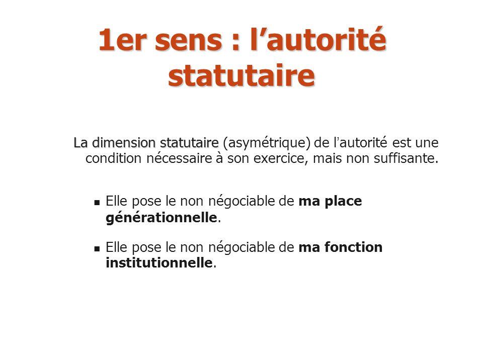 1er sens : lautorité statutaire La dimension statutaire La dimension statutaire (asymétrique) de l autorité est une condition nécessaire à son exercic