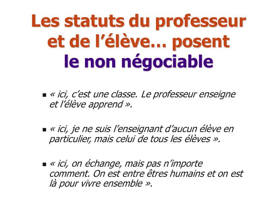 Les statuts du professeur et de lélève… posent le non négociable « ici, cest une classe. Le professeur enseigne et lélève apprend ». « ici, je ne suis