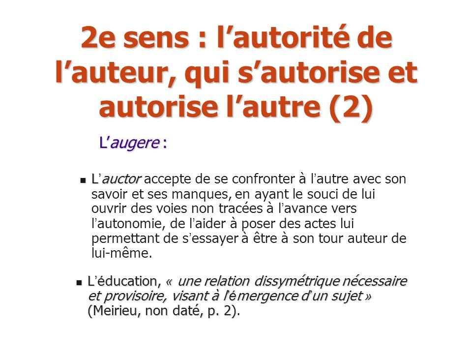 2e sens : lautorité de lauteur, qui sautorise et autorise lautre (2) L auctor L auctor accepte de se confronter à l autre avec son savoir et ses manqu