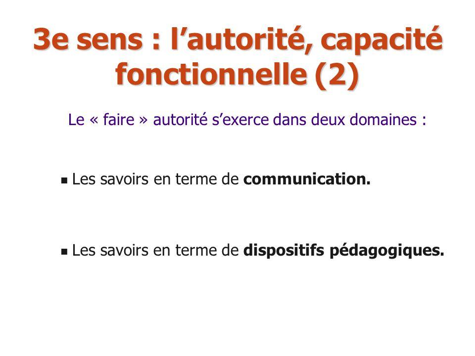 3e sens : lautorité, capacité fonctionnelle (2) Les savoirs en terme de communication. Les savoirs en terme de dispositifs pédagogiques. Le « faire »