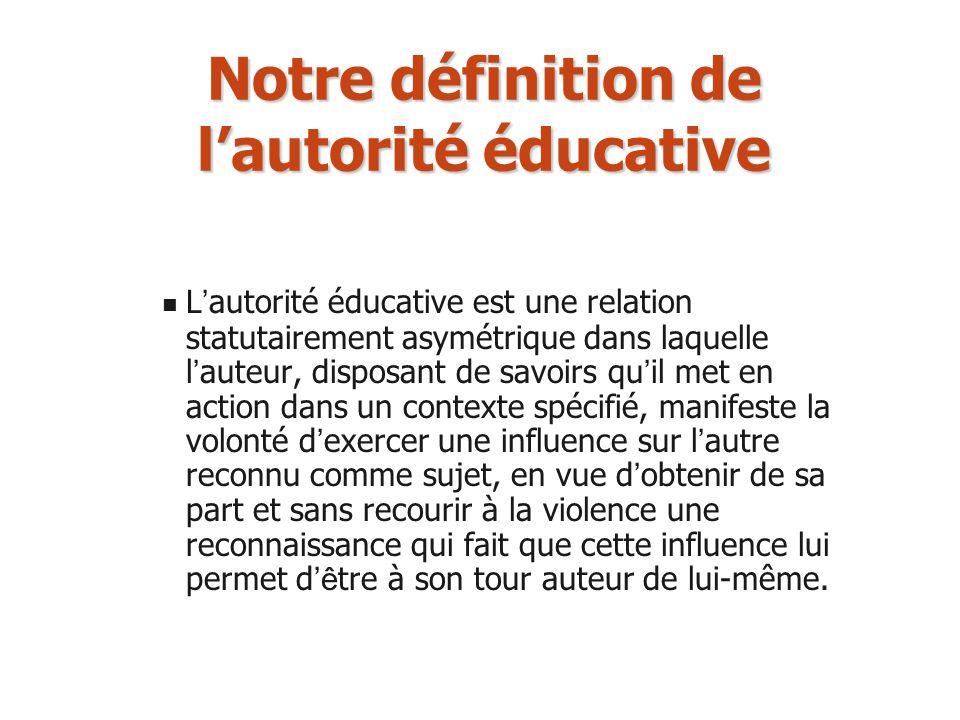 Notre définition de lautorité éducative L autorité éducative est une relation statutairement asymétrique dans laquelle l auteur, disposant de savoirs
