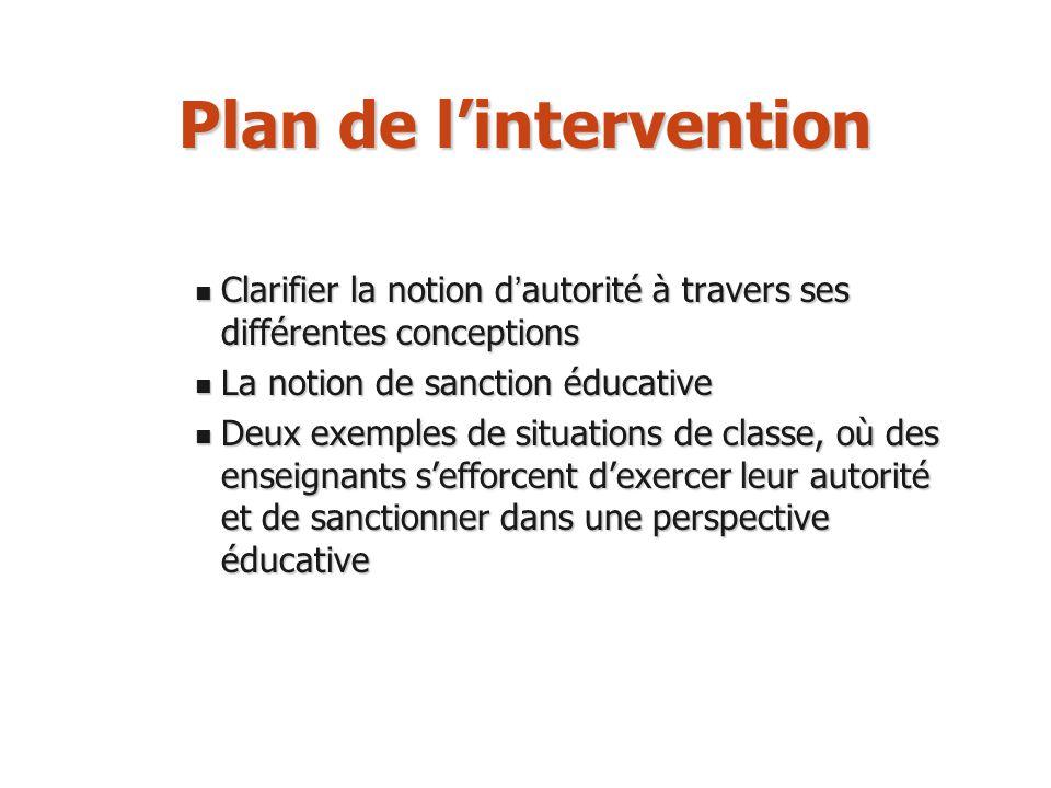 Plan de lintervention Clarifier la notion d autorité à travers ses différentes conceptions Clarifier la notion d autorité à travers ses différentes co