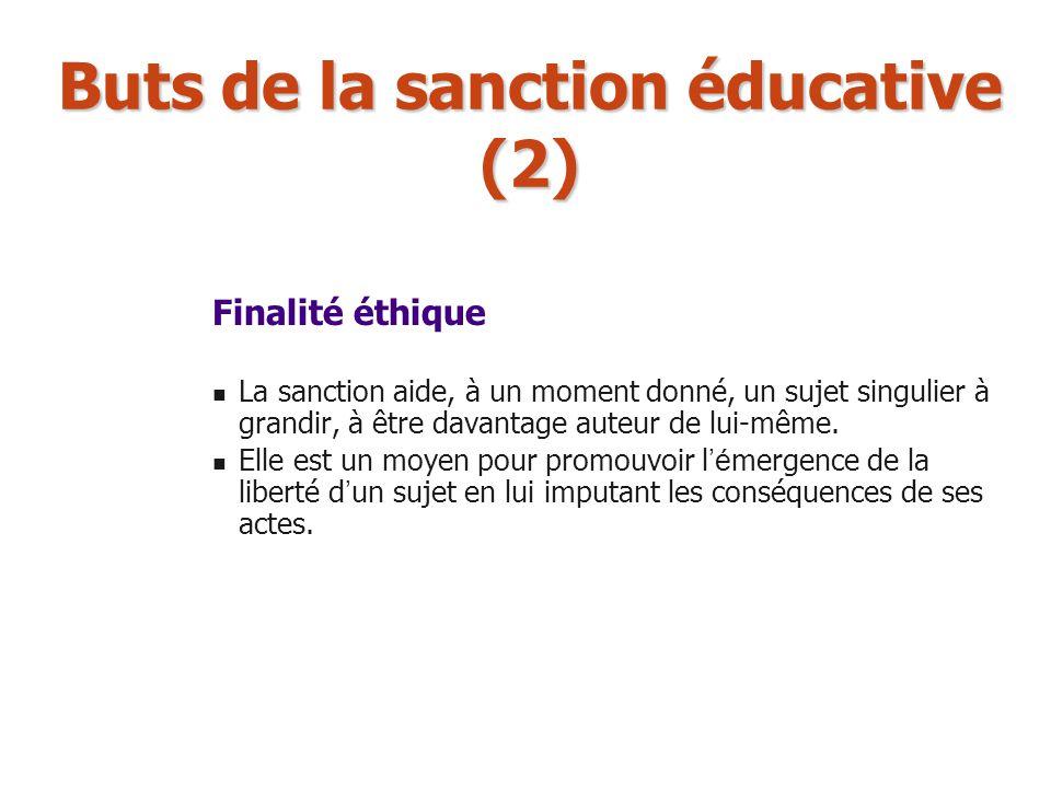 Buts de la sanction éducative (2) Finalité éthique La sanction aide, à un moment donné, un sujet singulier à grandir, à être davantage auteur de lui-m