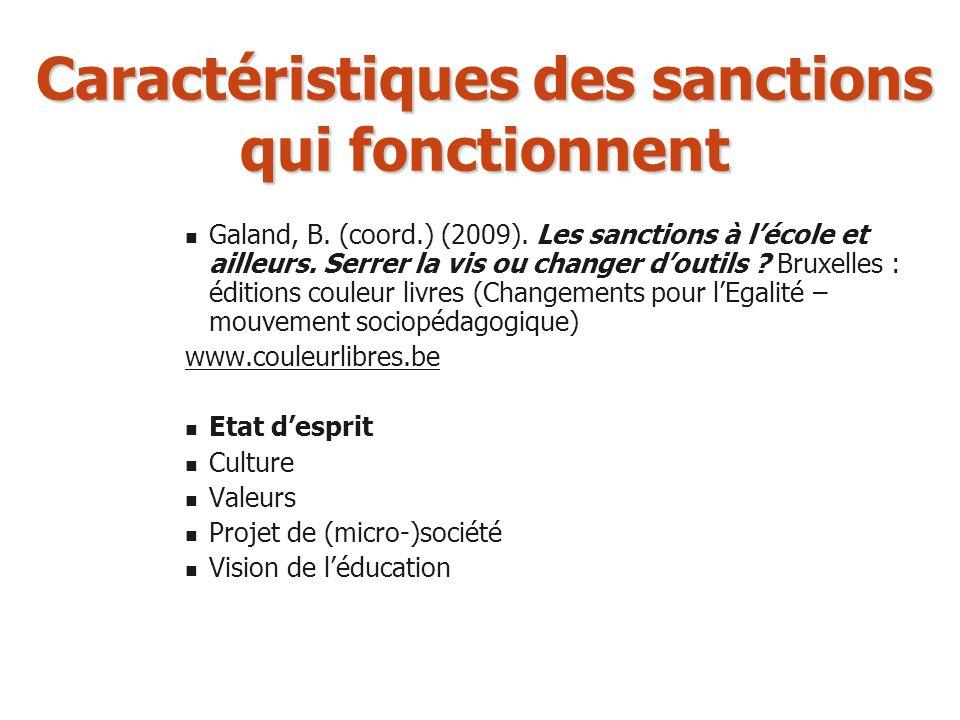 Caractéristiques des sanctions qui fonctionnent Galand, B. (coord.) (2009). Les sanctions à lécole et ailleurs. Serrer la vis ou changer doutils ? Bru