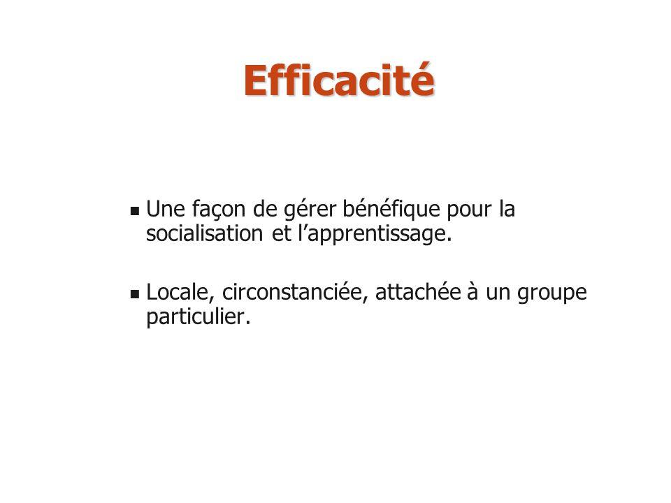 Efficacité Une façon de gérer bénéfique pour la socialisation et lapprentissage. Locale, circonstanciée, attachée à un groupe particulier.