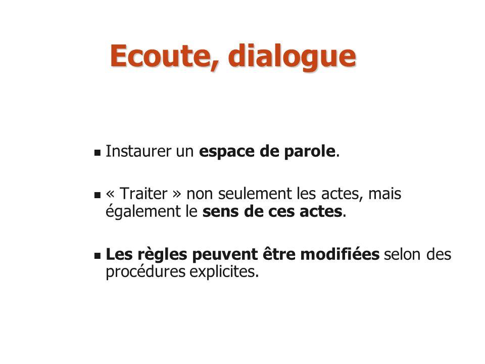 Ecoute, dialogue Instaurer un espace de parole. « Traiter » non seulement les actes, mais également le sens de ces actes. Les règles peuvent être modi
