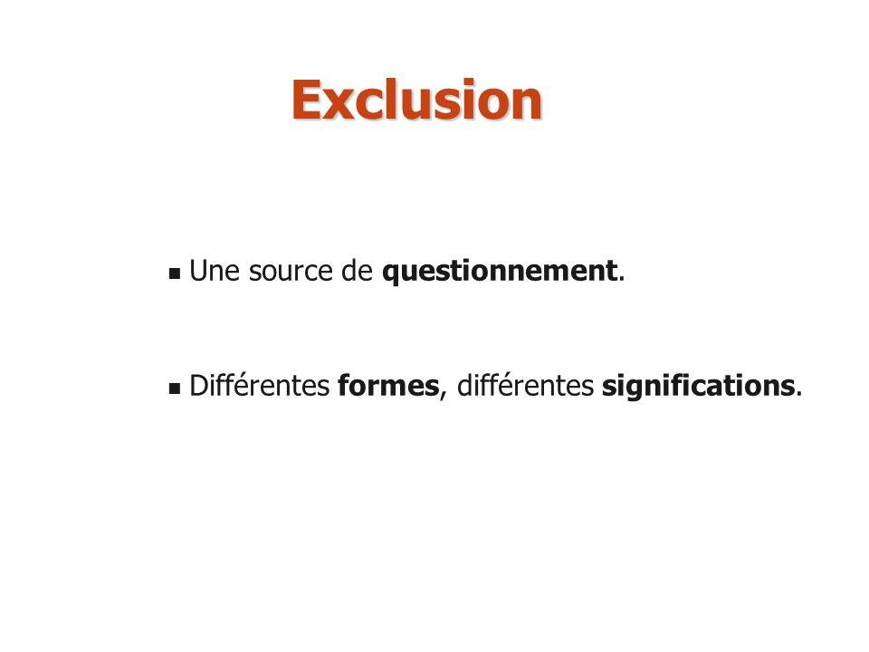 Exclusion Une source de questionnement. Différentes formes, différentes significations.