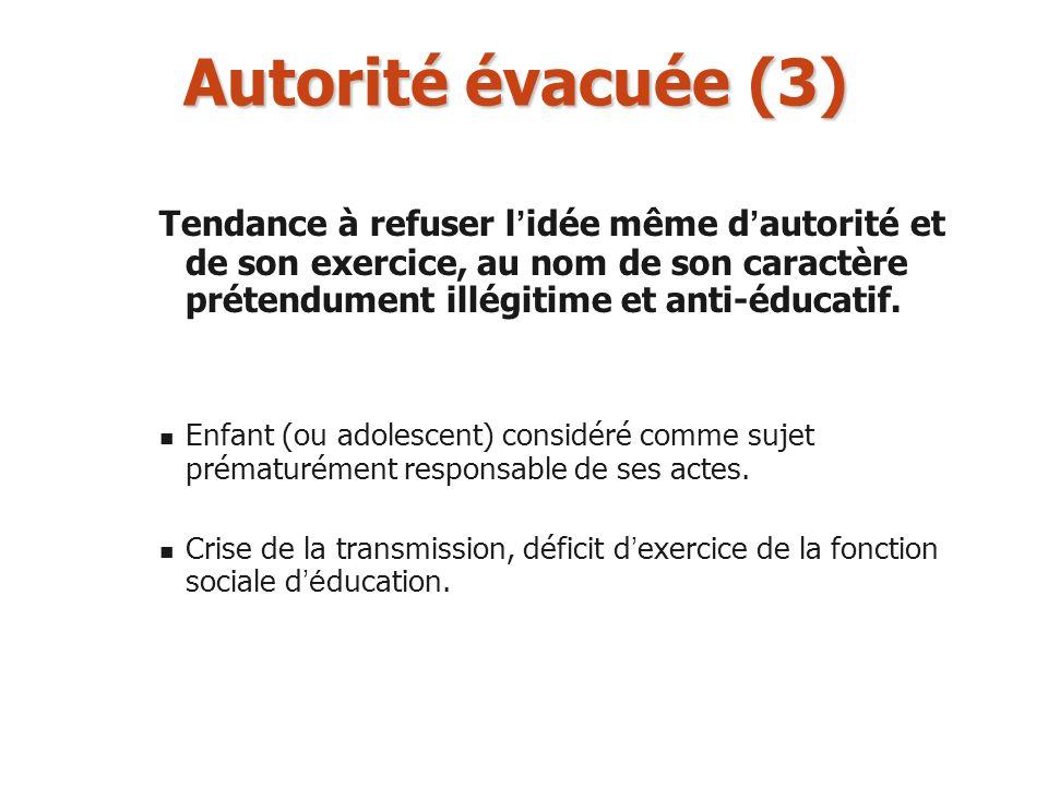 Autorité évacuée (3) Tendance à refuser l idée même d autorité et de son exercice, au nom de son caractère prétendument illégitime et anti-éducatif. E