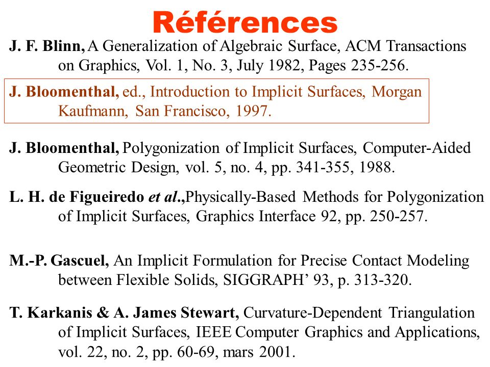 Références J.F. Blinn, A Generalization of Algebraic Surface, ACM Transactions on Graphics, Vol.