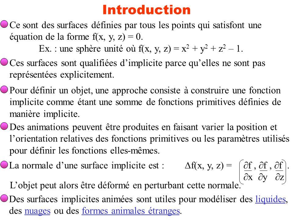Introduction Ce sont des surfaces définies par tous les points qui satisfont une équation de la forme f(x, y, z) = 0. Ex. : une sphère unité où f(x, y