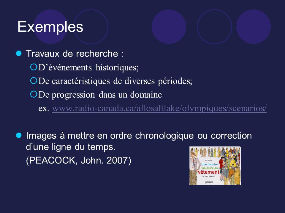 Exemples Travaux de recherche : Dévénements historiques; De caractéristiques de diverses périodes; De progression dans un domaine ex. www.radio-canada