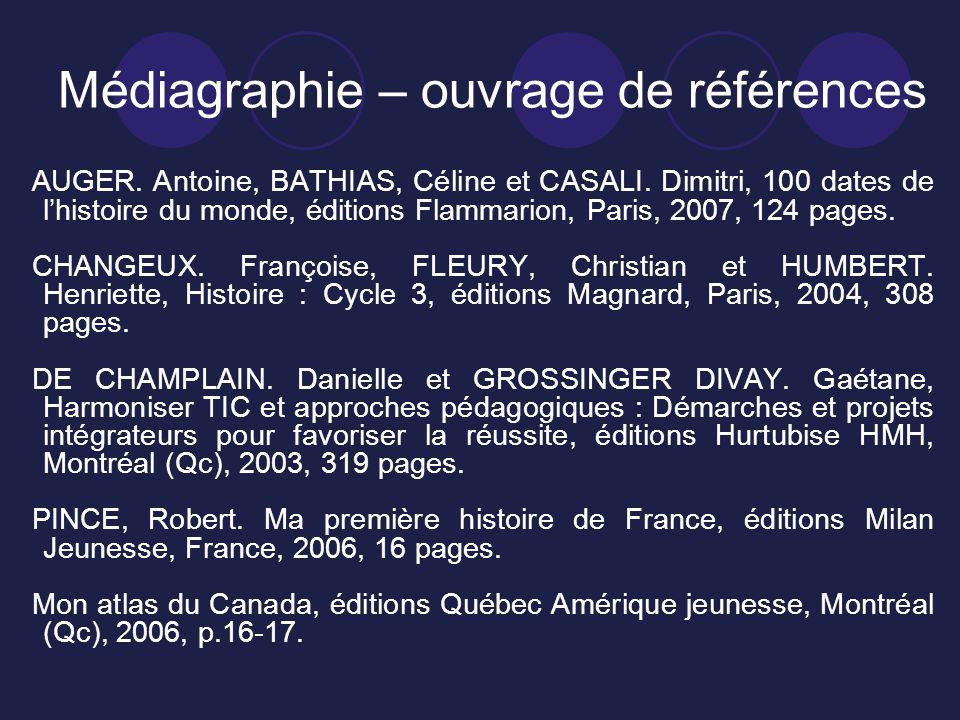 Médiagraphie – ouvrage de références AUGER.Antoine, BATHIAS, Céline et CASALI.