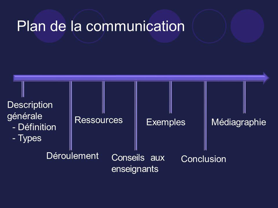 Plan de la communication Description générale - Définition - Types Déroulement Ressources Conseils aux enseignants Exemples Conclusion Médiagraphie