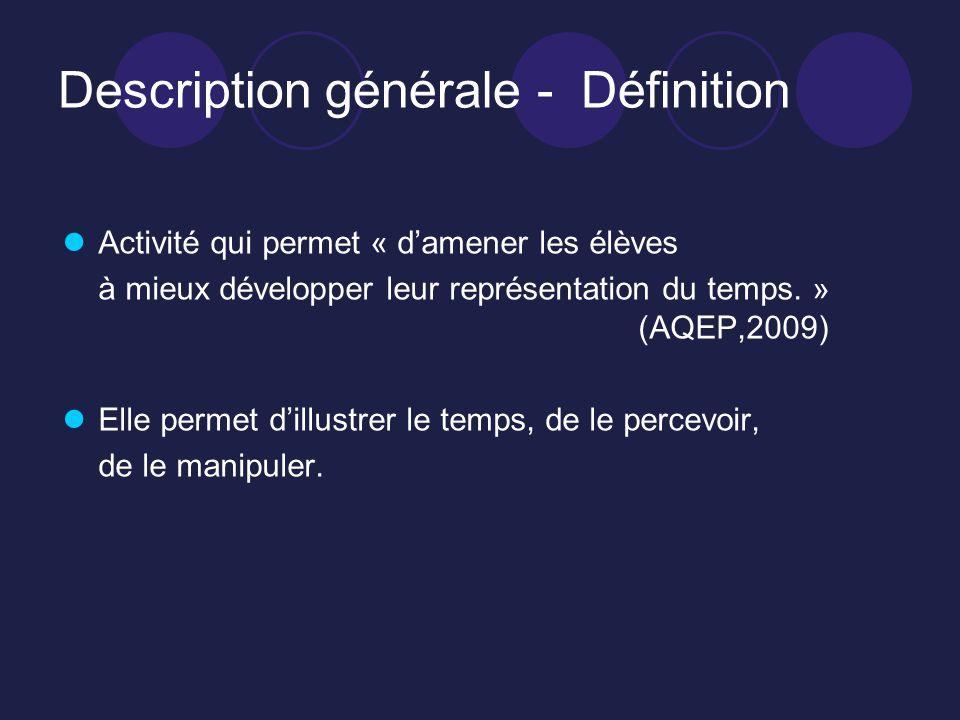 Description générale - Définition Activité qui permet « damener les élèves à mieux développer leur représentation du temps. » (AQEP,2009) Elle permet