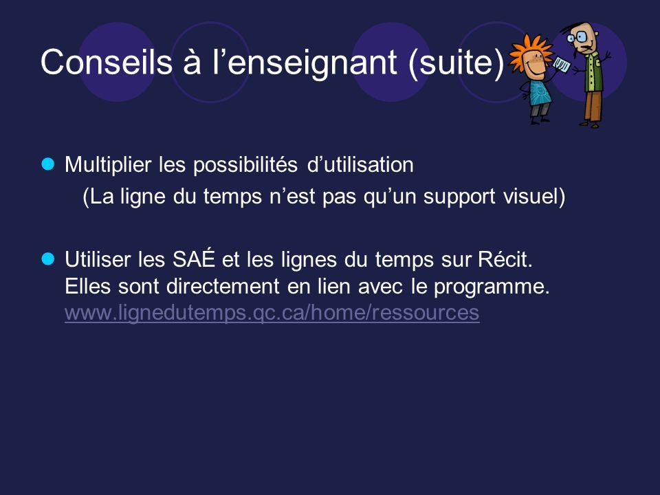 Conseils à lenseignant (suite) Multiplier les possibilités dutilisation (La ligne du temps nest pas quun support visuel) Utiliser les SAÉ et les lignes du temps sur Récit.