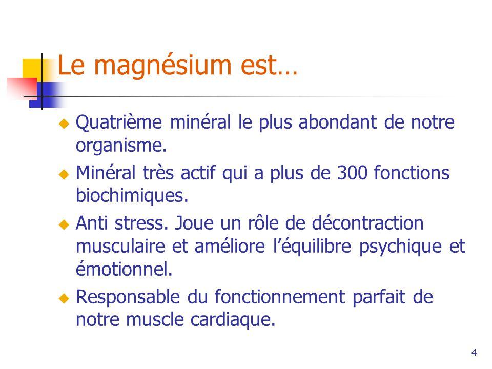 4 Le magnésium est… Quatrième minéral le plus abondant de notre organisme.