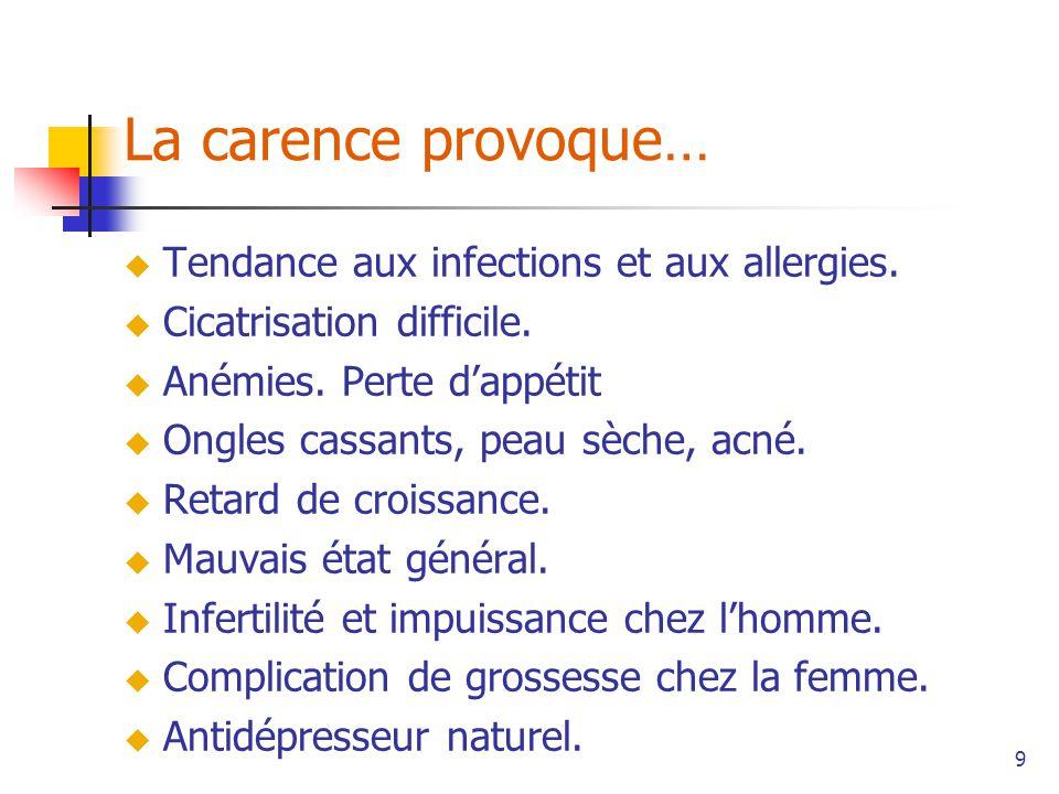 9 La carence provoque… Tendance aux infections et aux allergies.