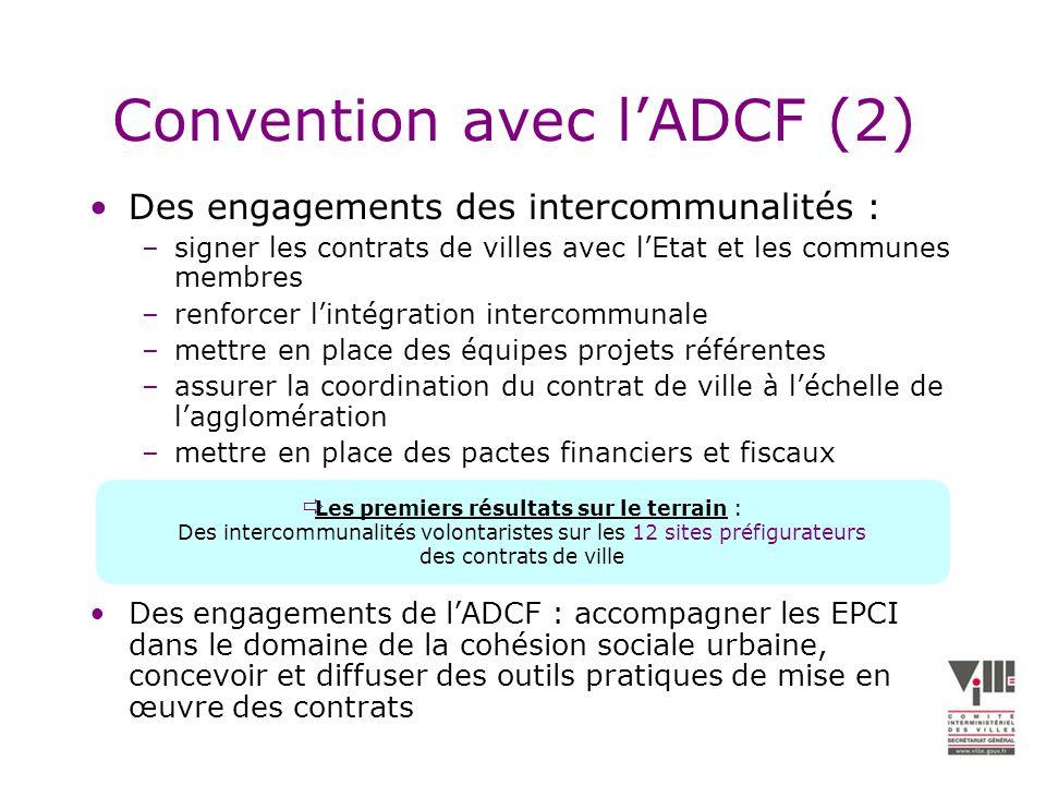 Convention avec lADCF (2) Des engagements des intercommunalités : –signer les contrats de villes avec lEtat et les communes membres –renforcer lintégration intercommunale –mettre en place des équipes projets référentes –assurer la coordination du contrat de ville à léchelle de lagglomération –mettre en place des pactes financiers et fiscaux Des engagements de lADCF : accompagner les EPCI dans le domaine de la cohésion sociale urbaine, concevoir et diffuser des outils pratiques de mise en œuvre des contrats Les premiers résultats sur le terrain : Des intercommunalités volontaristes sur les 12 sites préfigurateurs des contrats de ville