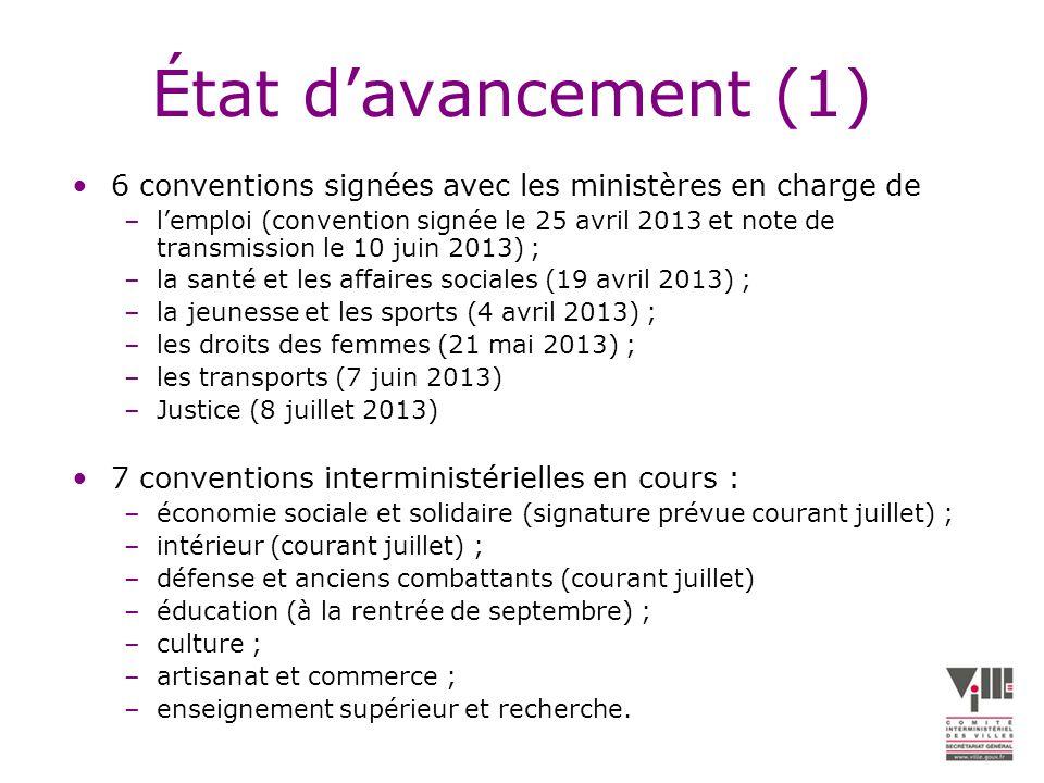 État davancement (1) 6 conventions signées avec les ministères en charge de –lemploi (convention signée le 25 avril 2013 et note de transmission le 10 juin 2013) ; –la santé et les affaires sociales (19 avril 2013) ; –la jeunesse et les sports (4 avril 2013) ; –les droits des femmes (21 mai 2013) ; –les transports (7 juin 2013) –Justice (8 juillet 2013) 7 conventions interministérielles en cours : –économie sociale et solidaire (signature prévue courant juillet) ; –intérieur (courant juillet) ; –défense et anciens combattants (courant juillet) –éducation (à la rentrée de septembre) ; –culture ; –artisanat et commerce ; –enseignement supérieur et recherche.