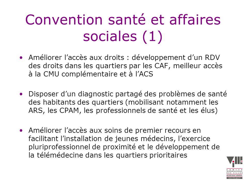 Convention santé et affaires sociales (2) Renforcer les initiatives de prévention dans les quartiers par la prise en compte des besoins spécifiques des habitants des quartiers dans la stratégie nationale de santé et les plans nationaux de santé publique.