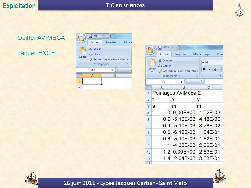 26 juin 2011 - Lycée Jacques Cartier - Saint Malo TIC en sciences Quitter AVIMECA Lancer EXCEL Exploitation